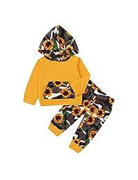 新生儿婴儿女童秋季套装长袖连帽棉上衣连帽衫 + 花卉裤打底裤套装 2 件套