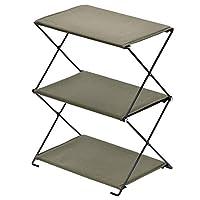 BUNDOK 折疊架 BD-196 卡其色 輕量 收納架 棉 露營 小物件架 折疊式 收納小巧 3層