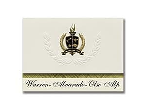 签名公告 Warren-Alvarado-Olso Alp(华伦,明尼克)毕业宣布,总统风格,25 片精英包装带金色和黑色金属箔封条