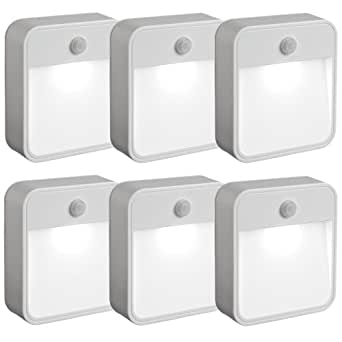 美国Mr Beams MB726 自动感应电池 无线运动传感器LED小夜灯,白色,6支