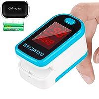 Tomorotec 指尖脉搏血氧仪血氧饱和度监测仪,带携带盒、电池和挂绳(蓝色)