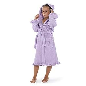 Linum Home 纺织品连帽厚绒浴袍 带褶边 紫色 中 LSWK40-M