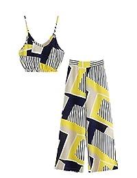 Shein 女式 2 件套细肩带条纹吊带上衣和阔腿裤套装