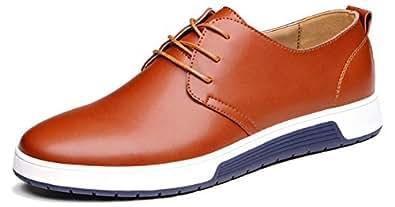 華ge 男式都市礼服鞋皮革牛津鞋系带经典运动平底鞋 Brown2808 9.5