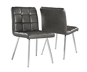 Monarch Specialties Grey Leather-Look/Chrome Metal 2-Piece Dining Chair, 32-Inch