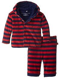 Magnificent Baby 男婴红色*蓝天鹅绒连帽衫和裤子