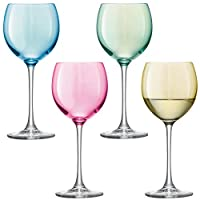 LSA IV Pastel Wine Glass 400ml, Pastel Assorted, Set of 4 G932-14-294