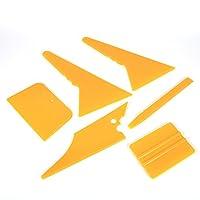 6 件套汽车车窗刮刀 ABS 车窗贴膜工具适用于汽车与建筑薄膜和各种 LCD 电视薄膜黄色