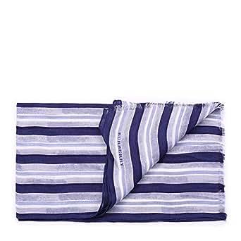 BURBERRY 巴宝莉 男款 欧洲时尚条纹莫代尔亚麻围巾 40CM×140CM 浅蓝色