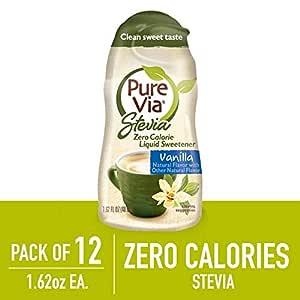 PURE VIA Vanilla Liquid, Stevia Drops, Liquid Stevia, Sugar Substitute, 1.6-Ounce (Pack of 12)