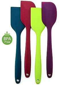 Ovente 不含双酚 A 的优质硅胶抹刀,不粘锅,符合人体工程学设计,多色 4 PCS Blue, Green, Purple, Red 4 PCS Blue, Green, Purple, Red