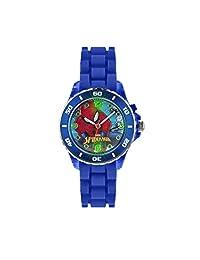 蜘蛛侠儿童石英手表, multicolour 表盘 ANALOGUE 显示和蓝色橡胶表带 spd3415