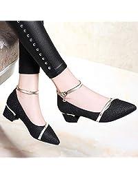 古奇天伦 金色单鞋女鞋2018新款秋鞋低跟尖头中跟粗跟伴娘新娘鞋婚鞋高跟鞋