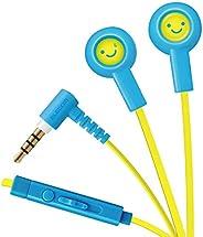Elecom宜丽客 立体声耳机 防止打结的扁平线Y型 9mm驱动EHP-CS3520MF1  带麦克风 スマイル1