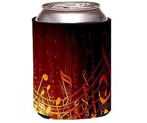 "Rikki Knight ""Gold Music Note Design"" Beer Can Soda Drinks Cooler Koozie"
