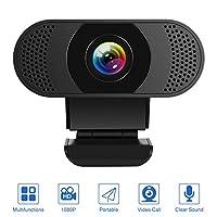 RUICHENXI 1080P 网络摄像头,内置双麦克风降噪,全高清网络摄像头 USB 即插即用,适用于直播,通讯,学习,视频通话和Skype,带旋转夹子