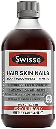 Swisse Ultiboost 头发皮肤指甲液体补充剂 |  富含维生素C 和二氧化硅 | 16.9 液体盎司(500ml),1瓶