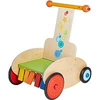 HABA 304793 - 学步车,滑板车,带可调节制动器,用于*学步,包括运输座椅,吱吱声和折叠效果,10个月以上婴儿玩具