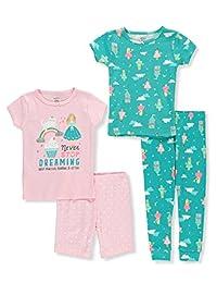 Carter's 女童 6M-5T 4 件套舒适贴身睡衣套装。
