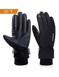anqier 冬季手套,-30°F(-34°C)防寒保暖 3M Thinsulate 保暖触摸屏冷天气手套男式女式智能手机纹理骑行骑行跑步滑雪户外运动