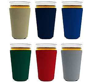 Blank 氯丁橡胶可折叠品脱玻璃清凉帽 多种颜色 Pint PintGlassKoozie6PackVarious