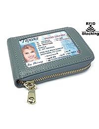 RFID 屏蔽男式女式皮革钱包身份证卡夹皮革卡套 - 绿灰色