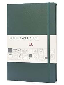 优质经典精品 UBERWORKS TEHNIK 笔记本子弹日记弹性封口中号 A5 80gr 意大利纸,192 张圆点,有内衬或普通页,索引,标签和口袋 Dotted 橄榄绿