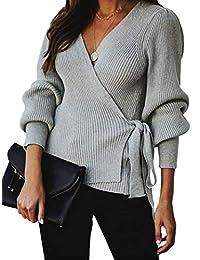 Famulily 女式性感 V 领毛衣裹身长袖侧系带针织束腰上衣
