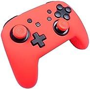 JoyCons 任天堂切换控制器手柄 - 2 个装符合人体工程学的舒适手柄,适用于 Joy Cons 控制器,左右两只装 Silocone controller Colorz Red 红色