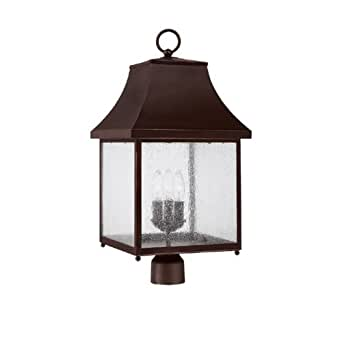 Capital Lighting 9066NB Outdoor Fixture with Seeded Glass Shades, New Bronze Finish