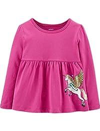 Carter's 女婴闪亮飞马图案长袖上衣洋红色粉色,6 个月