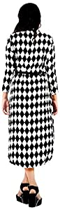 vogue4all Women's Crepe Tunic Dress (Black & White, Large)