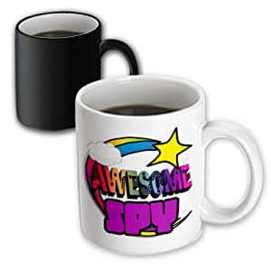 dooni designs- FUNKY Awesome 设计–流星彩虹 Awesome SPY–马克杯 黑色/白色 11-oz Magic Transforming Mug