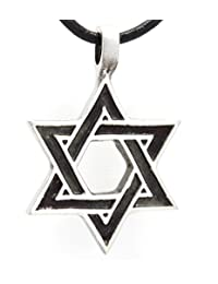 复古之星珠宝希伯来光明节吊坠 皮革项链