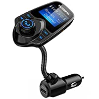 VicTsing Bluetooth FM Transmitter 1.44 Inch Display TF Card Slot Pure Black