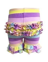 AnnLoren 女婴弹力棉针织荷叶边短裤 - 尺码:6 个月至 2-3 岁