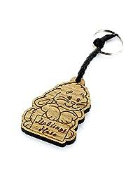 Lieblingsmensch Lieblingsmensch Schlüsselanhänger aus Holz 模型:Lieblingshase 钥匙圈,12 厘米,棕色(棕色)