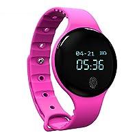 【开启智能生活】智能手环 智能手表 运动手环 跑步手表 计步器 蓝牙触摸计步器手环睡眠健康监测 (玖红色)