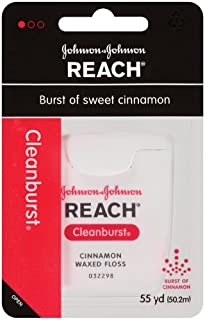 Reach Cleanburst Cinnamon Waxed Floss, 55 Yards (Pack of 4)