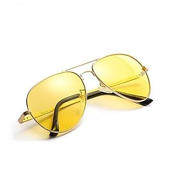 男式女式夜视高清飞行员偏光眼镜适用于驾驶/钓鱼/射击–黄色防眩光 alleviate 眼部*–* nightguide 太阳镜/带保护套 & 超细纤维清洁布 Gold/Yellow