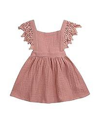 幼儿女婴夏季连衣裙,儿童舒适棉质亚麻裙露背游乐装芭蕾舞短裙套装