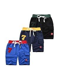 AMMENGBEI 男孩 3 件装夏季棉质短裤 2-10 岁
