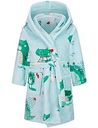 Betusline 儿童和成人睡袍,男孩女孩幼儿婴儿法兰绒柔软浴袍,18 个月 - 女士 XL *恐龙 11-12 Years