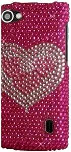 Qtech QT-1415 Unique Dazzling Diamond Bling Case for LG Optimus M Plus MS695-1 Pack - Retail Packaging - Hot Pink Heart