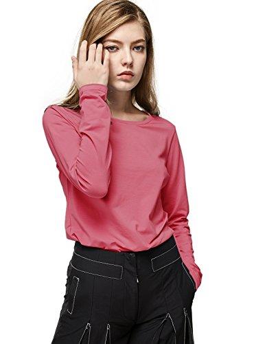 エスカリエ女性の長袖Tシャツの基本ラウンドネックTシャツトップ