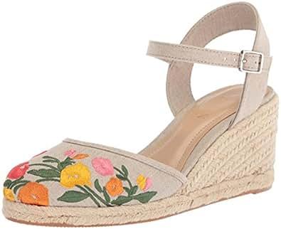 lauren 由 ralph lauren 女式 hayleigh 女士帆布坡跟凉鞋 Flax 5.5 B(M) US
