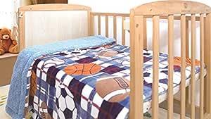 Sapphire Home 超柔软舒适婴儿推车毛毯,40 英寸 x 50 英寸,长毛绒羊羔绒背衬毯,男孩、幼儿,趣味可爱印花 Sports-blue