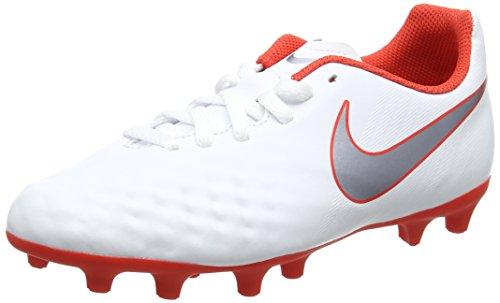 Nike Unisex Kids JR Obra 2 Club FG Football Boots, Multicolour (White/Mtlc Cool Grey-Lt Crimson 107), 5 UK