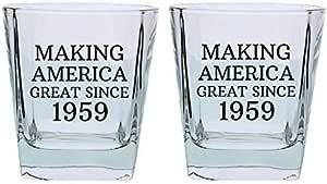 送给妈妈的生日礼物 Grandma Grandpa Making America Great Since Year 礼品方形低球玻璃 60th A-P-PD-9SHBG-0014-02-Blk