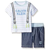 Calvin Klein Baby-Boys Printed Stripes Interlock Top and Woven Chambray Shorts